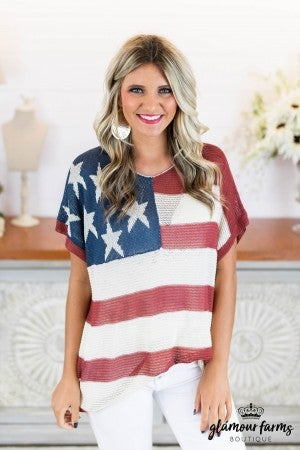 sku8350 | Stars And Stripes Summerweight Sweater