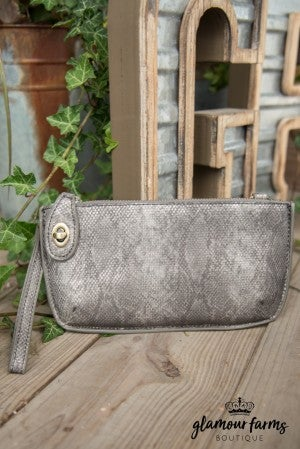 Minnie Crossbody Wristlet Clutch - Gunmetal Python
