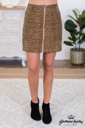 sku8789 | Animal Print Zipper Skirt