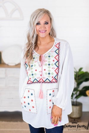 sku8625 | **Daily Deal** Embroidered Tassel Tie Top