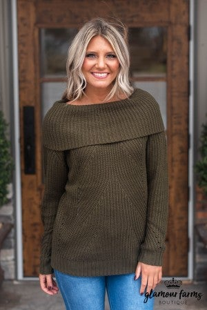 **Daily Deal** Let It Snow Fold Over Tunic Sweater