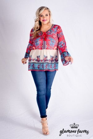 Tender Times Lace Up Blouse