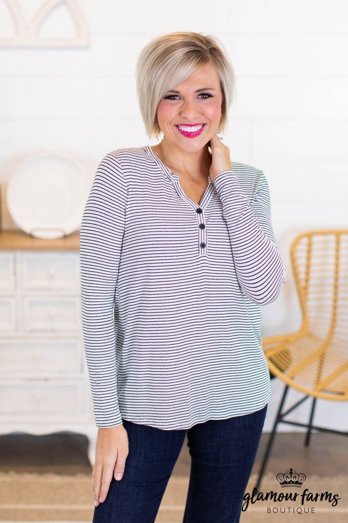 sku10379 | Striped V-Neck Top