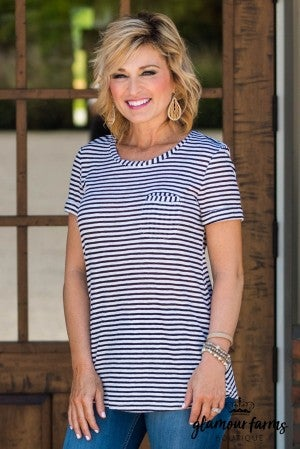*Daily Deal** On The Go Striped Pocket Tee
