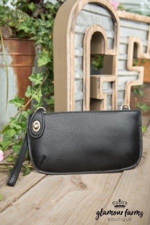 Minnie Crossbody Wristlet Clutch - Black