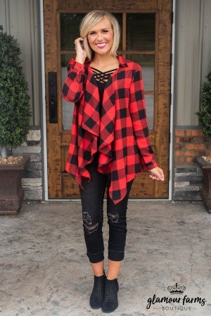 Fall Approaching Plaid Cardigan