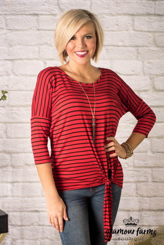 Harper Stripe Tie Front Knit Top