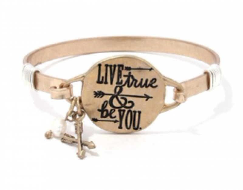 Live True and Be You Metal Bracelet