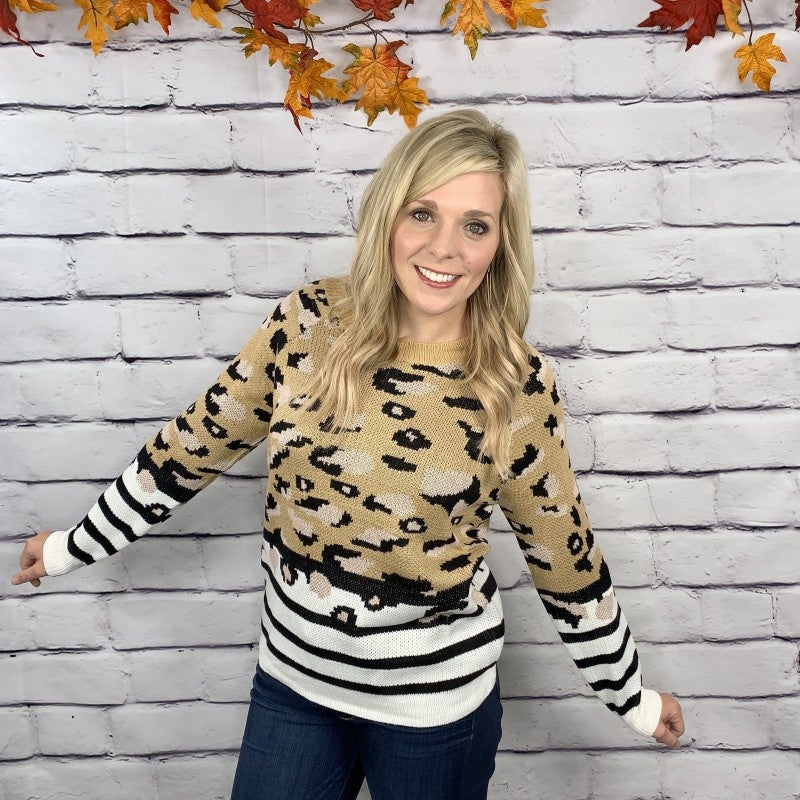 The Memphis Leopard & Stripe Sweater