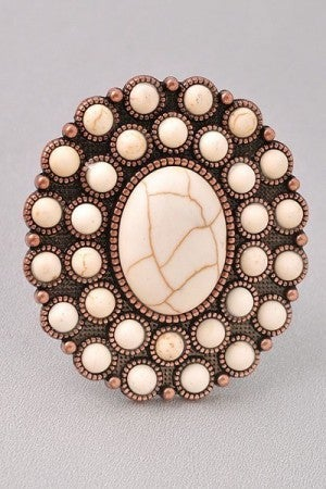 Adjustable Ring in Ivory Stone