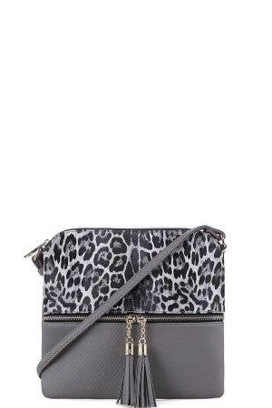 Leopard Crossbody Grey Purse