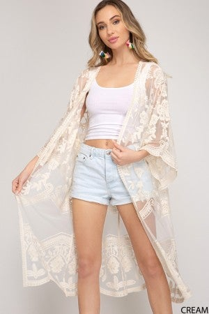 Cream Lace Duster