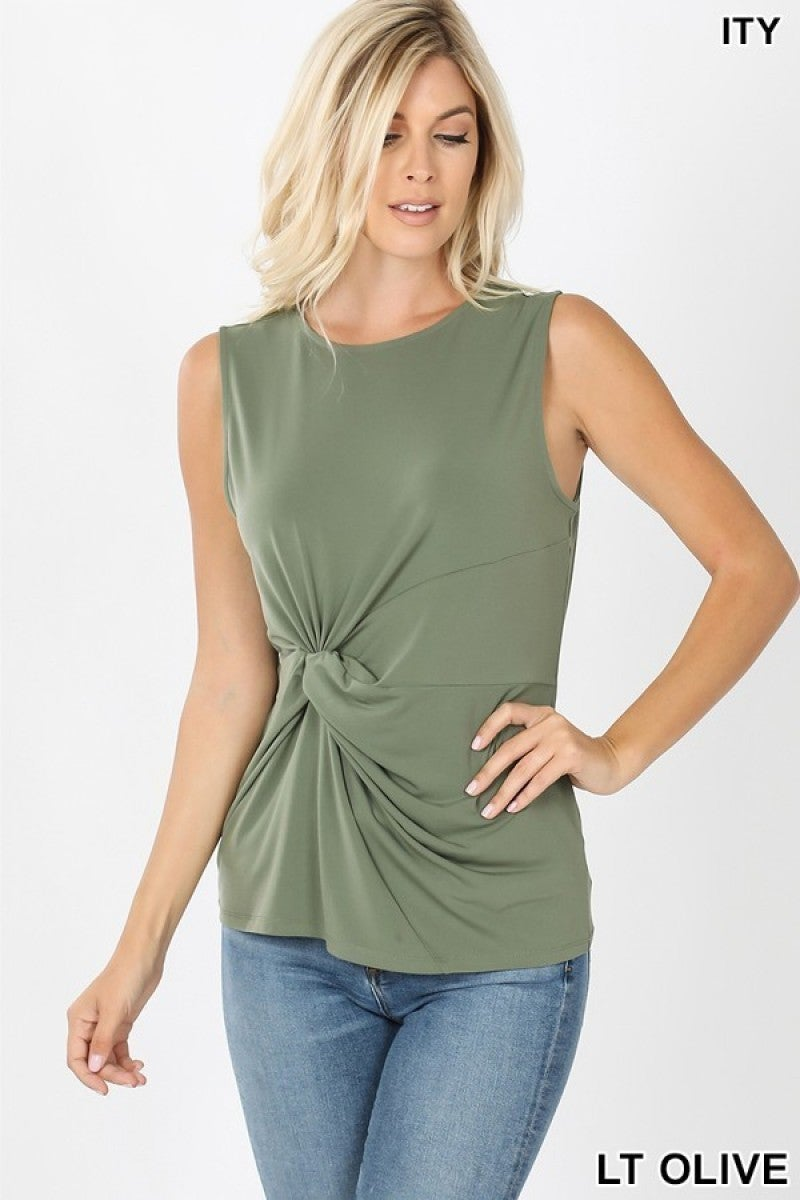 Cinch Knot Top in Light Olive All Sizes