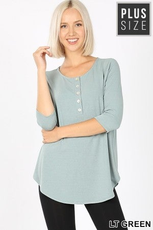 3/4 Sleeve Button Down in Light Green (All Sizes)