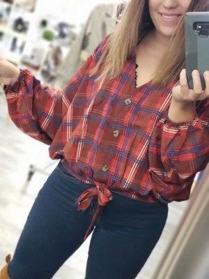 Plaid Print Dolman Sleeve