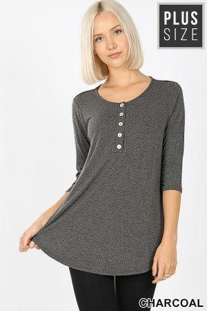 3/4 Sleeve Button Down in Charcoal (Curvy Only)
