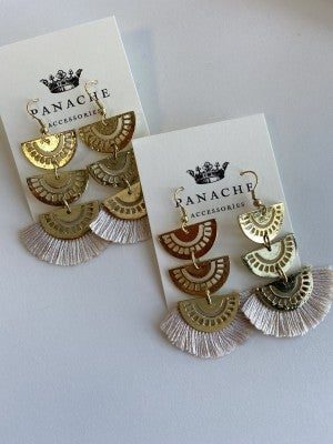 Fringe Tiered Panache Earring (Multiple Colors)