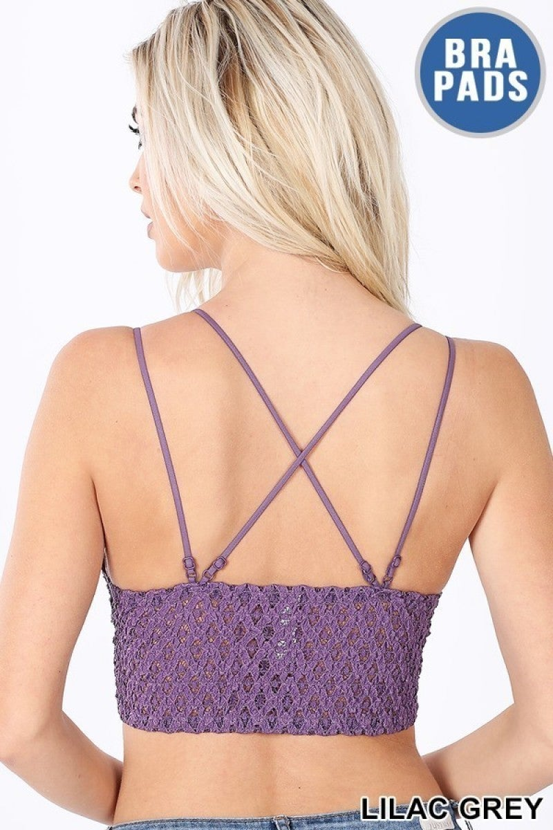 Double Strap Bralette (Lavender, Red,  Lilac, and Mocha)