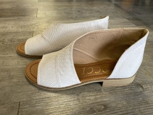 The Adele in Snake White Flat Shoe