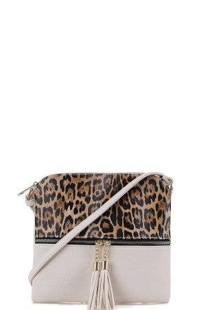 Leopard Crossbody White Purse