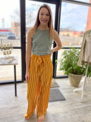 Wide Leg Pant with Stripe by LLove