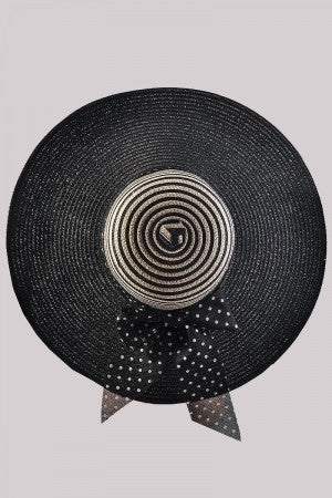 Floppy Hat with Bow in Black