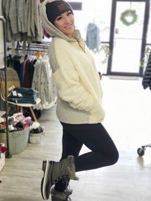 Fuzzy Ivory Sweater with Hood
