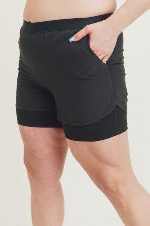 Lined Perforated Shorts in Curvy by Mono B
