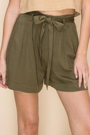 Olive Highwaist Paperbag Shorts