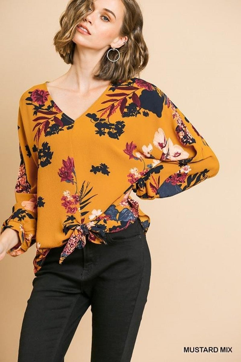 Floral Umgee Long Sleeve Oversized *Final Sale*