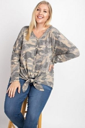 Curvy Dusty Camo Top *Final Sale*