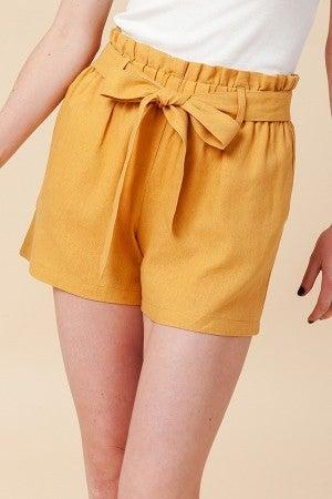 Simple Paperbag Highwaist Shorts in Mustard
