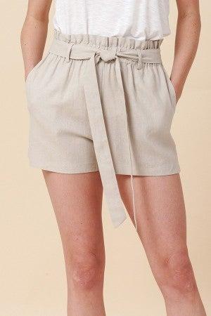 Simple Paperbag Highwaist Shorts in Grey