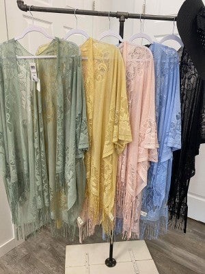 Lace Kimono Cardigan Cover-up (Multiple Colors, one size)