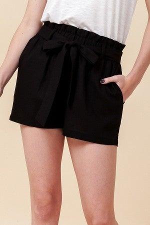 Simple Paperbag Highwaist Shorts in Black