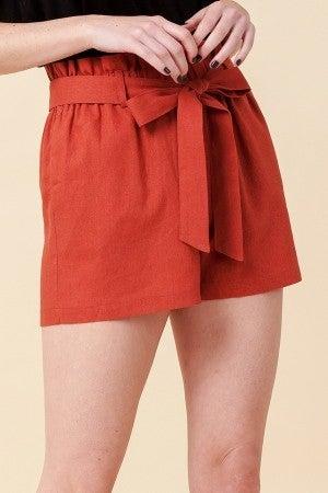 Simple Paperbag Highwaist Shorts in Rust