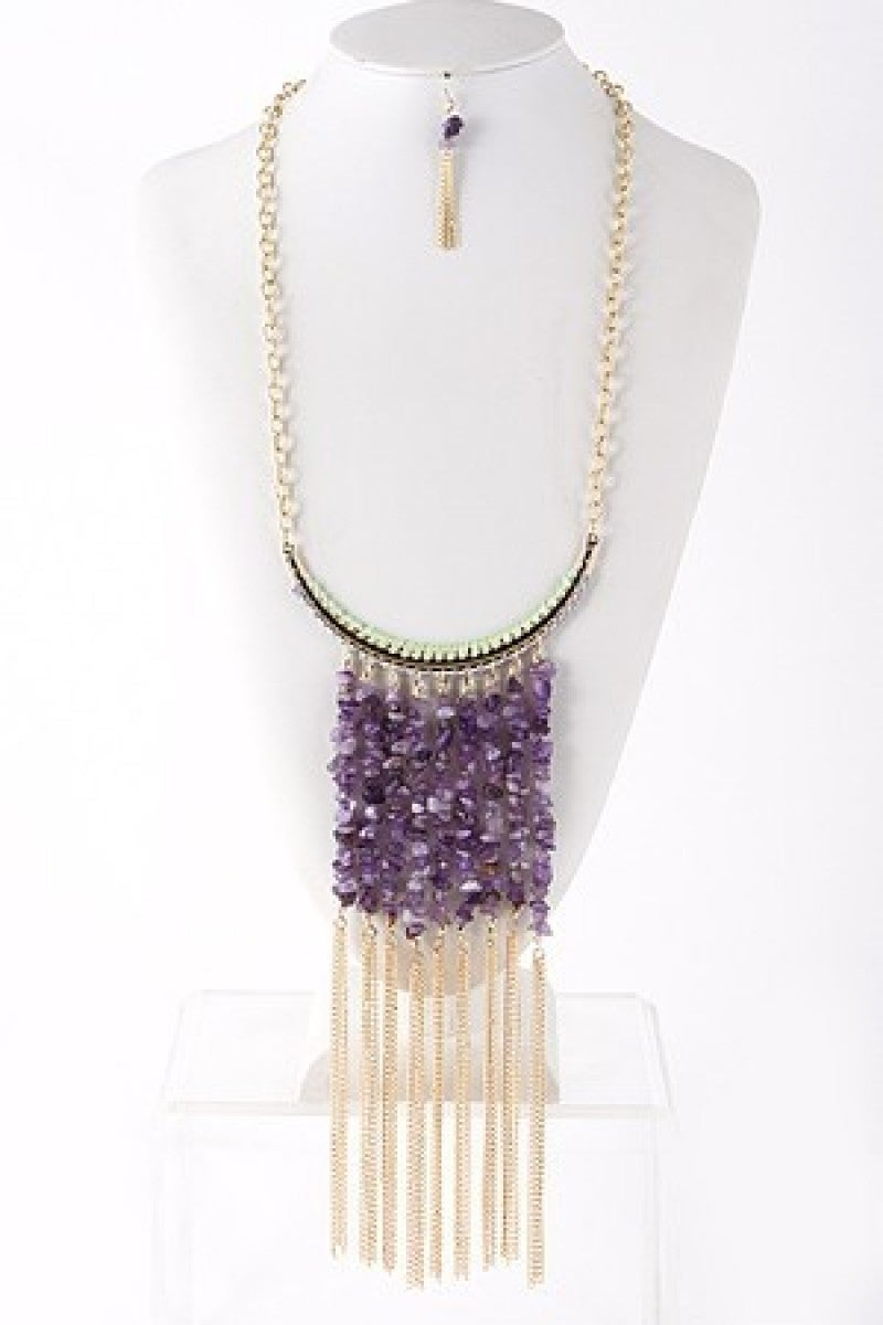 Beaded Fringe Dangle Necklace