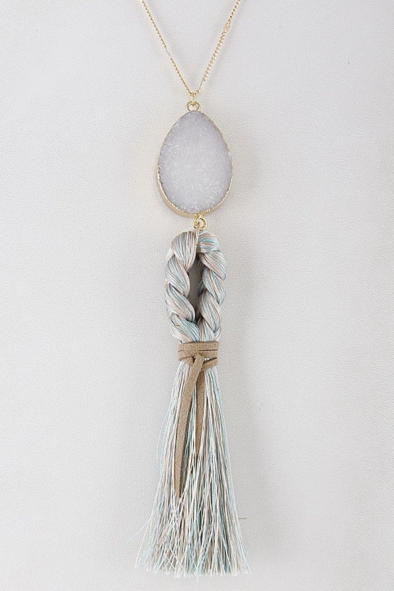 Thick Braided Tassel With Semi Precious Stone Necklace