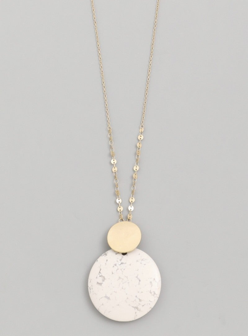 Howlite Stone Disc Pendant Necklace