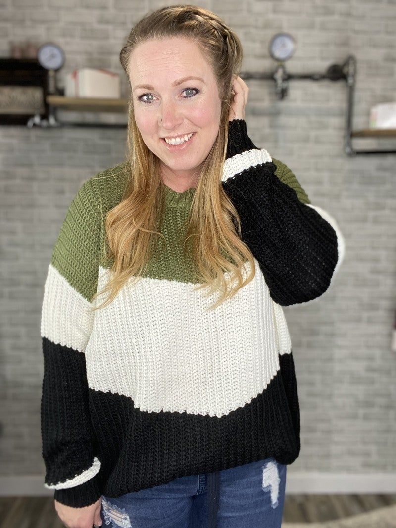Chevron Color Block Sweater Pullover