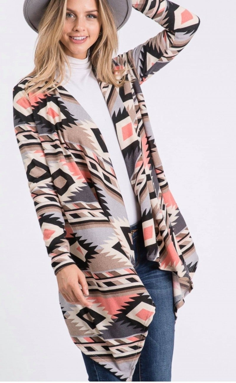LONG SLEEVE AZTEC PRINT DRAPED CARDIGAN