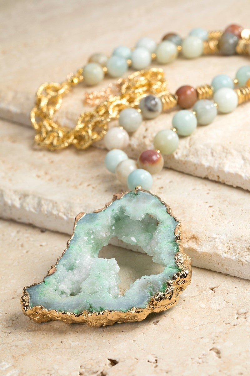 Natural Stone and Druzy Necklace