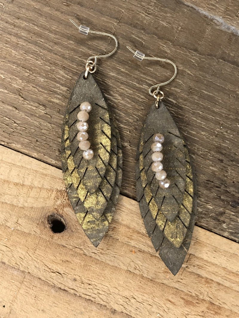 Glittering Layered Leaf Earrings