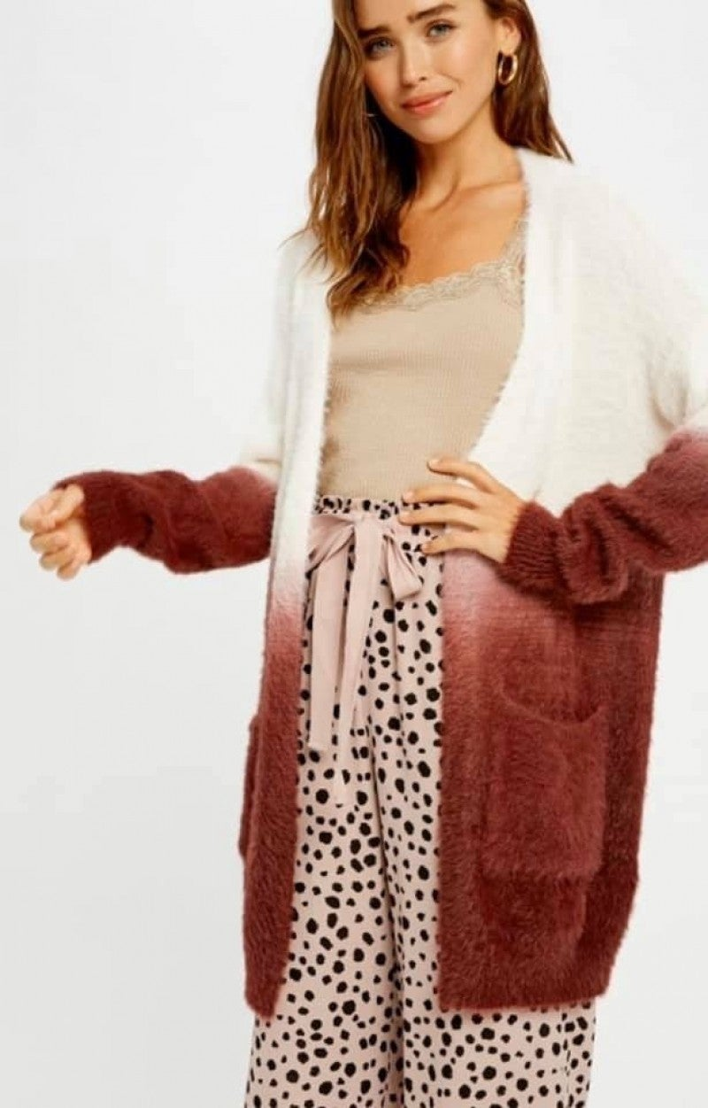 SOFT FUZZY Fur Dip Dye Open Cardigan