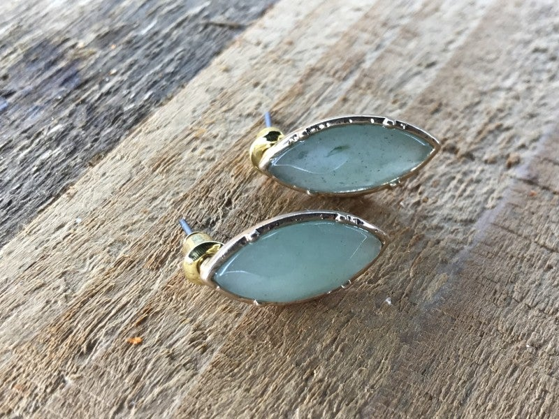 Oval Stone Stud Earrings