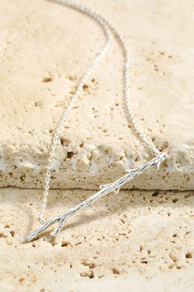 Silver Bar Branch Charm Necklace