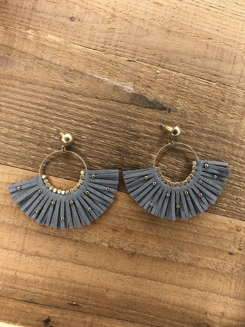 Faux Leather Fan Fringe Earrings