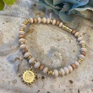 Wood Bead Strech Bracelet Spartina