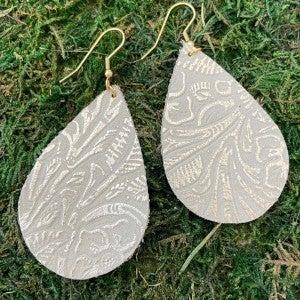 ACE Earrings/Large Embossed Teardrops