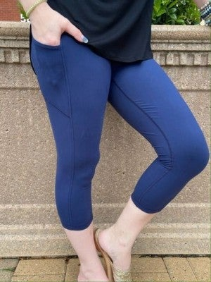 Blue Capri Pocket Leggings